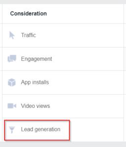 Facebook Lead Ads Step 2
